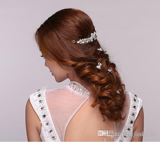 elegant wedding bridal hair accessories rhinestone bow tie u pins women party head pieces bridal head pieces