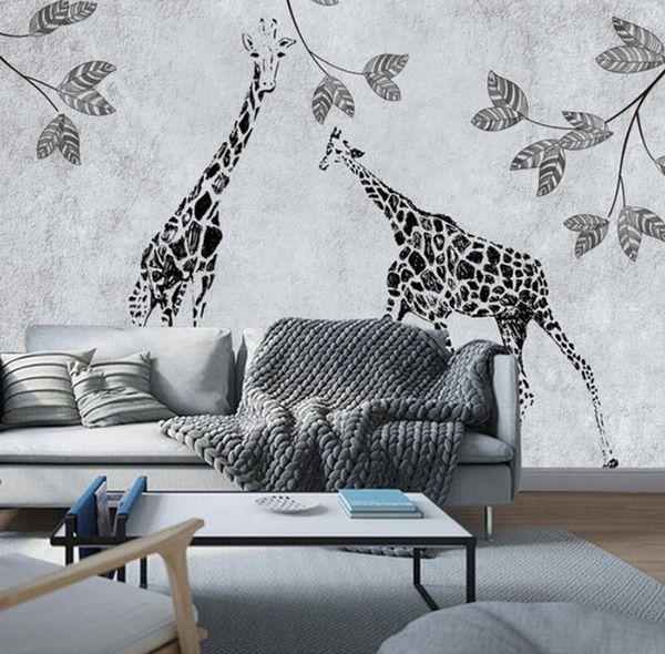Moderne Minimalistische Wandmalereien Handgemalte Giraffe Schlafzimmer  Wohnzimmer Esszimmer Wand Dekoration 3D Wallpaper Aufkleber