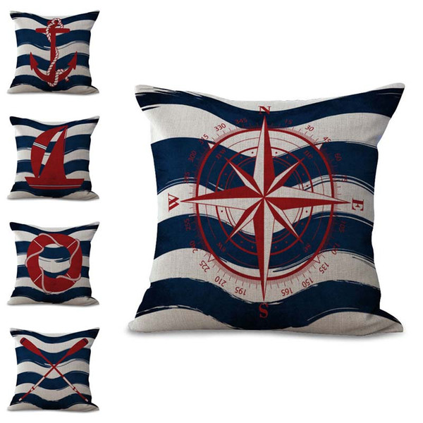 Sailing Stripe Boat Anchor Compass Life Buoy Pillow Case Cushion Cover Linen Cotton Throw Pillowcases Sofa Car Decorative DROP SHIPPING