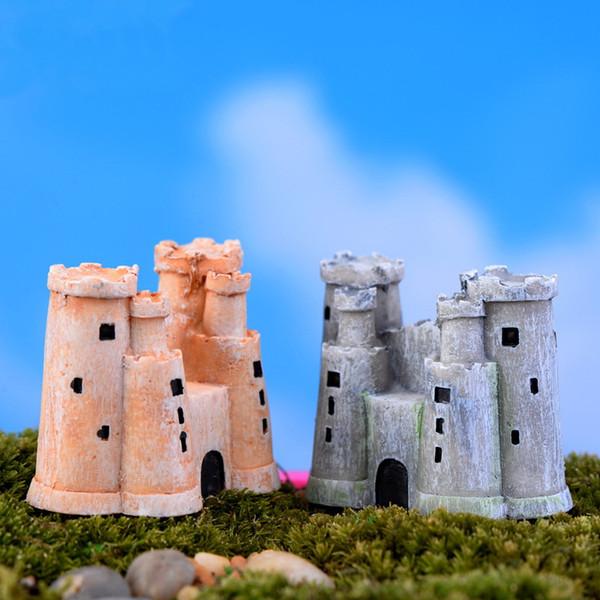Cute Resin Model Stone Castle Figurine House Mini Fairy Garden Miniatures Micro Landscape Decorations Terrarium Accessories 2 Colors