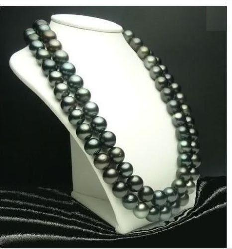 Free Shipping ***35 INCH HUGE AAA 10-11MM SOUTH SEA BLACK PEARL NECKLACE 14K GOLD CLASP