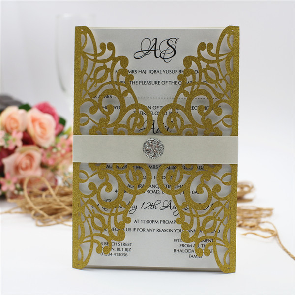 best selling Selling Elegant Lace Flower Laser Cut Free Printing Wedding Invitation Card All Colors Wedding Supplies Free Shipping