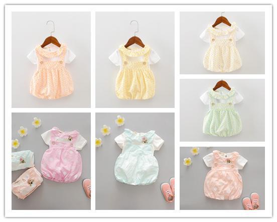 Envío libre de DHL vestido infantil Verano del bebé de manga corta O cuello flor T-shirt + lunares Overoles Sundress niños niñas vestido de dos piezas