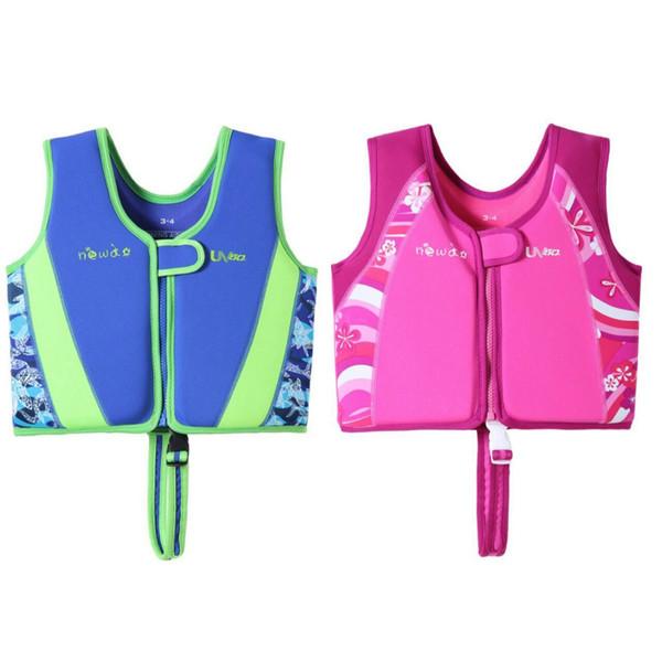 Niños chaleco salvavidas de neopreno chaleco salvavidas para niños nadar dispositivo flotador de ayuda para niños 1-12 años 4 colores