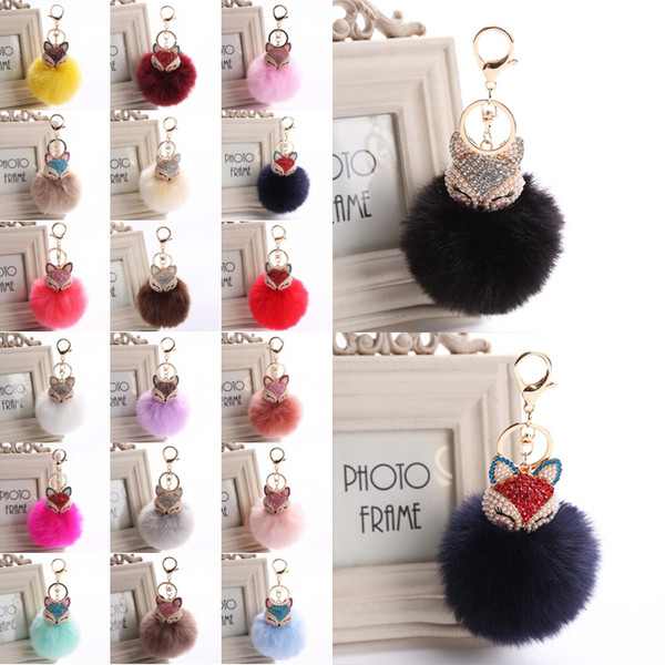 Car Keychain Fox Fur Ball with Pearl Rhinestone Key Chain Cool gifts Key Ring 20 Style for Women Purse Bag Keyring C150Q