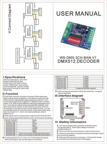 10pieces geben Verschiffen einfach 3 CH dmx512 Steuerpult, 3 CH DMX 512 Decoder, LED 3 Kanal RGB Ausgangssteuerpult, Antrieb DC5-24V DMX512 frei