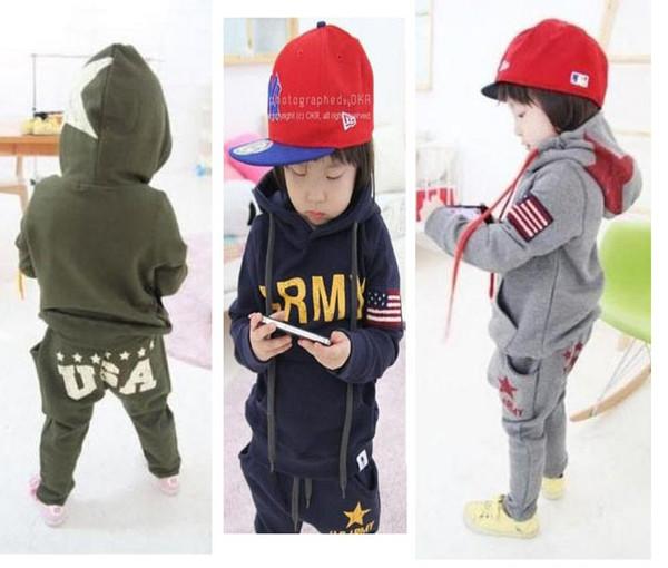 Menino hoodies harem pants outfits kid clothing set meninos do bebê 2 peças set Exército hooed tops haren calças estilo americano atacado crianças ternos