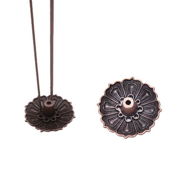 Al por mayor-1PCS forma de Lotus incienso Metal quemador de la placa titular 9 agujeros para el cono del palillo incienso aromaterapia artesanal budista regalo decoración para el hogar