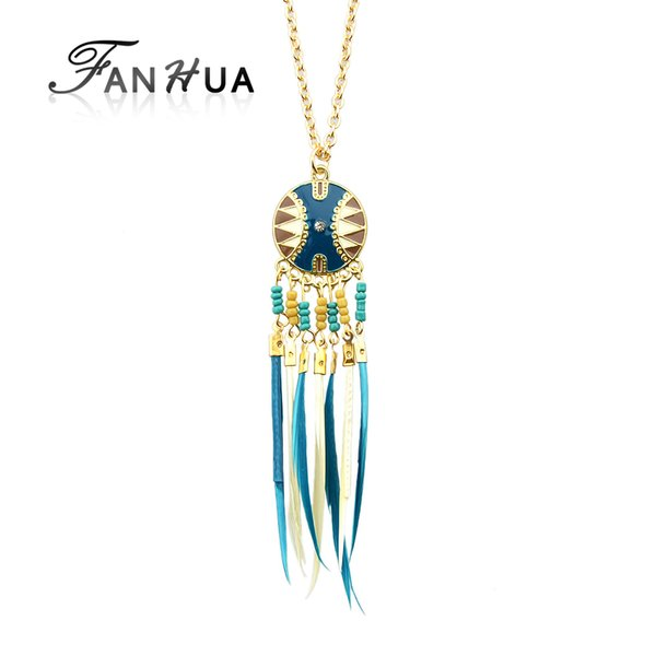 Wholesale- FANHUA Brand Fashion Indian Jewelry Long Boho Necklace Gold-Color Chain with Colorful Feather Tassel Pendant Female Necklace