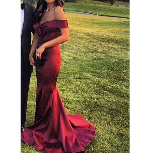 2017 Wine Red Satin Evening Dresses Arabic Off the Shoulder Backless Satin Mermaid Floor Length Evening Gowns