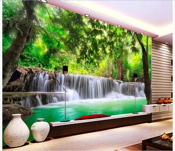 Toptan-Özelleştirilmiş 3d fotoğraf duvar kağıdı 3d duvar kağıdı duvar kağıdı orman nehir şelale süsleme resim 3d oturma odası duvar kağıdı