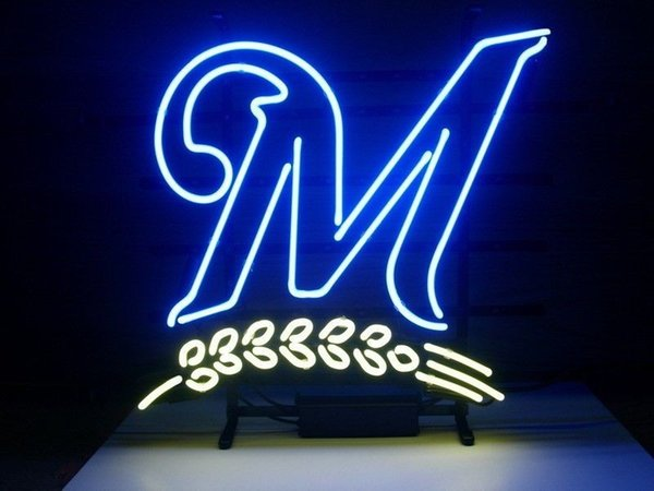 Fashion Handcraft M Letter Real Glass Beer Bar Pub Display neon sign 19x15!!!Best Offer!