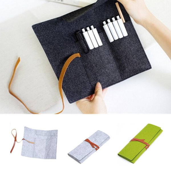 Wholesale- High Quality Women Cosmetic makeup brush bag Wool Felt Pencil case Pen Organizer Stationery pouch large capacity Storage bag B