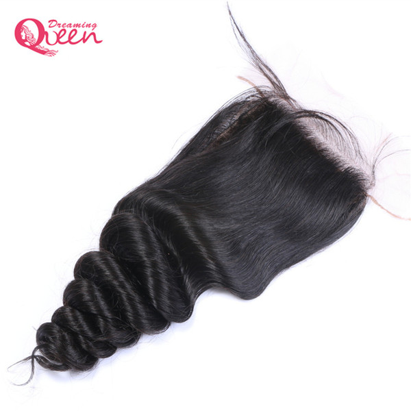 Peruvian Loose Wave Silk Base Lace Closure Virgin Human Hair With Baby Hair Hidden Knot 4x4 Silk Closure Middle Free Three Part Top Lace
