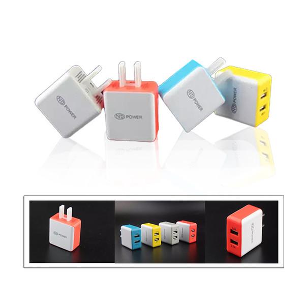 Top Colorful Square 5V 2.1A Dual USB Cargador de EE. UU. Adaptador de carga para Apple Samsung Cualquier teléfono Tablet PC DHL