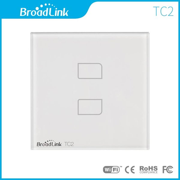 Wholesale-EU Standard BroadLink TC2 220V 1/2/3 Gang Touch Panel or Wireless Control Smart Wall Light Switch White Modern Hot Sale