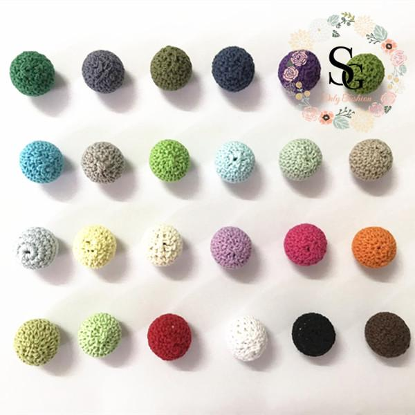 100 PCS Elegant 16 mm Crochet Beads 36 Color Available For Choose Knitted By Cotton Thread DIY Jewellery Making,Crochet Ball Beads