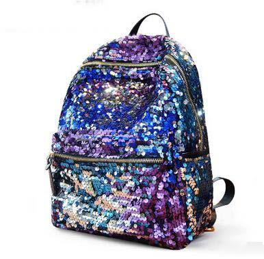 Hot Sale Women Sequins Rainbow Backpack Large Capacity Shiny School Backpack Newest Fashion Teenager Casual Backpack Camping Bag