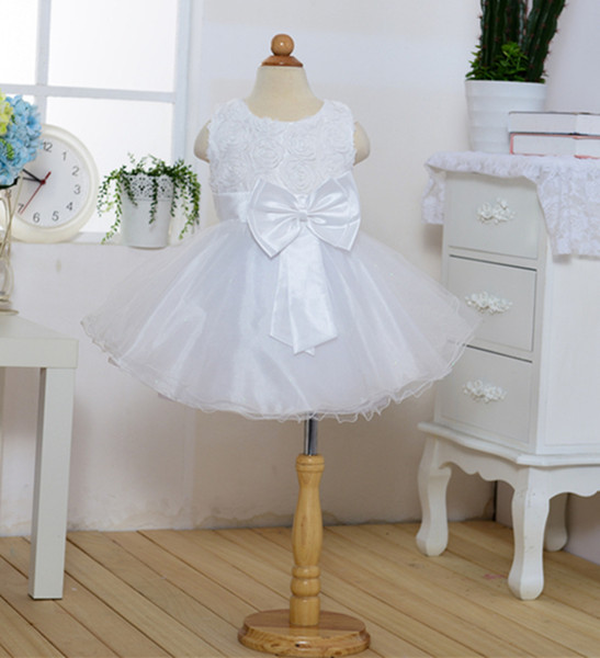 Hot Sale White Pink Tutu Dresses Cheap A Line Rose Flower Girl Dresses Promotion Girls Pageant Dresses Communion Organza 4T 12T Pageant Gown