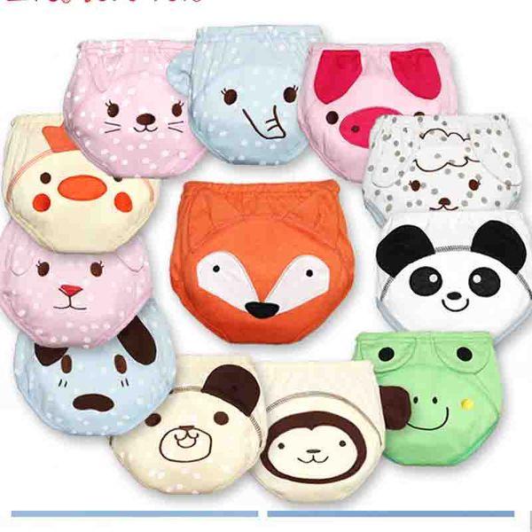 Cartoon New Infant Boys Girls Underwear Washable Babies Wear Briefs Baby Cotton Waterproof Reusable Nappy Diaper Training Pants A6335