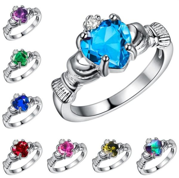 top popular Valentine's Day Gift Womens Silver Plated colorful Heart rhinestone Wedding Large Colored Ring Princess Ringen Jewelry Size 6-9 aa309 2019