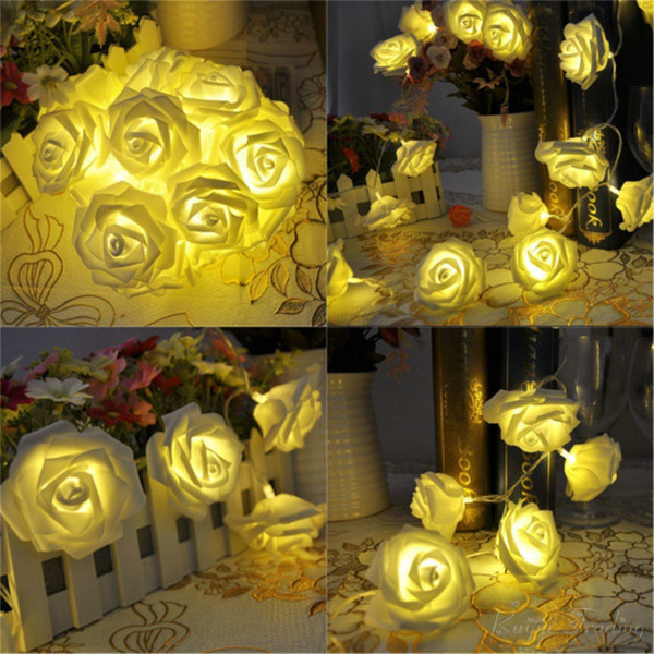 Wholesale- 2M 20 LED Battery Operated Rose Flower String Lights Wedding Valentine Fairy Lamp Outdoor Garland Christmas Party Decoration