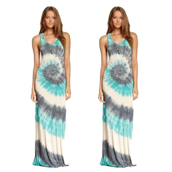 Summer Maxi Dresses Casual Large Swing Dress Sleeveless Long Beach Dress Paisley Printing Women Clothing Hot Sale