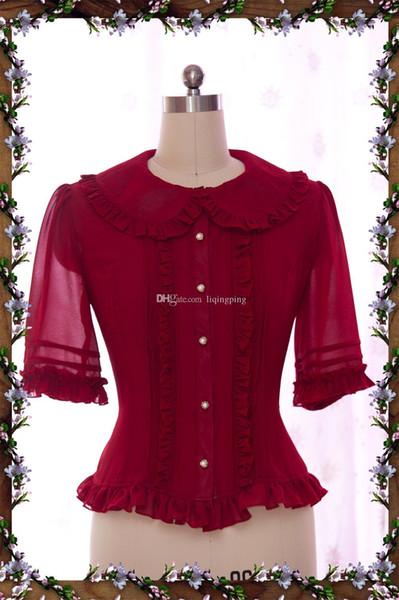 2017 Retro Red/Black/White Chiffon Peter Pan Collar Half Butterfly Sleeve Slim Gothic Lolita Blouses For Women