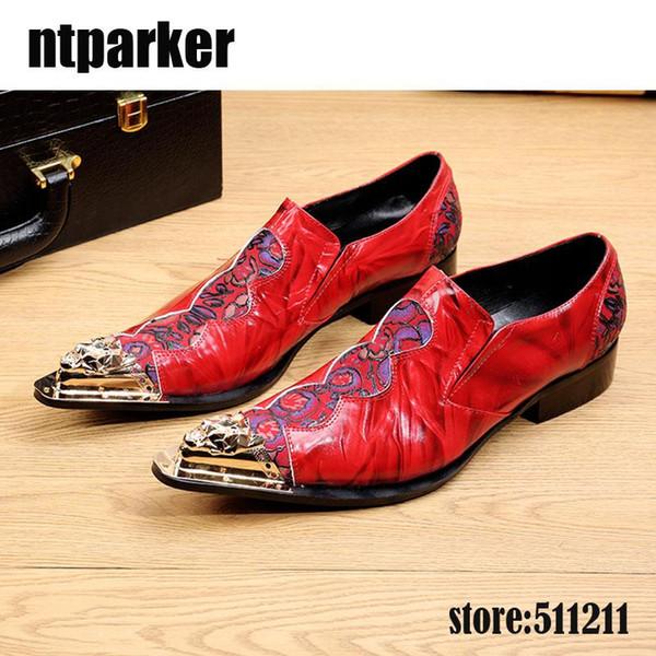 Marca de moda italiana para hombre, ventas de zapatos de cuero genuino, punta roja, punta de hierro, oficina de negocios, diseñador rojo, Wedding Menmen