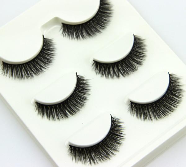 3pairs /set 3D Cross Thick False Eye Lashes Extension high quality Makeup Super Natural Long Fake Eyelashes Plastic cotton stems