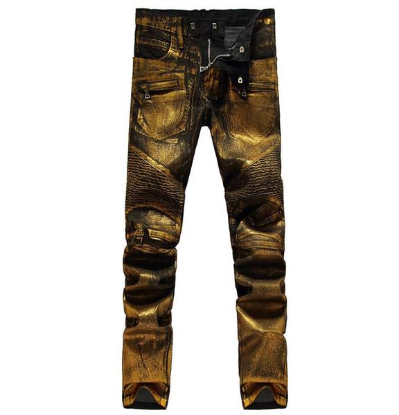 NWT BP Moda Hombre Pista Shiny Golden recubierto engrasado estiramiento delgado negro Biker Washed Jeans Tamaño 28-38 envío gratis