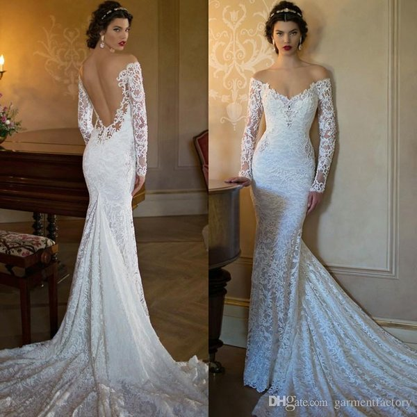 Sexy Mermaid Lace Wedding Dress Off the Shoulder Long Sleeves Fit ...