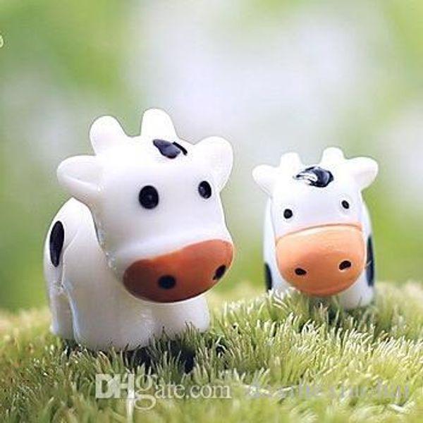 2Pcs Cow Animals Fairy Garden Miniatures Mini Gnomes Moss Terrariums Resin Crafts Figurines For garden decoration