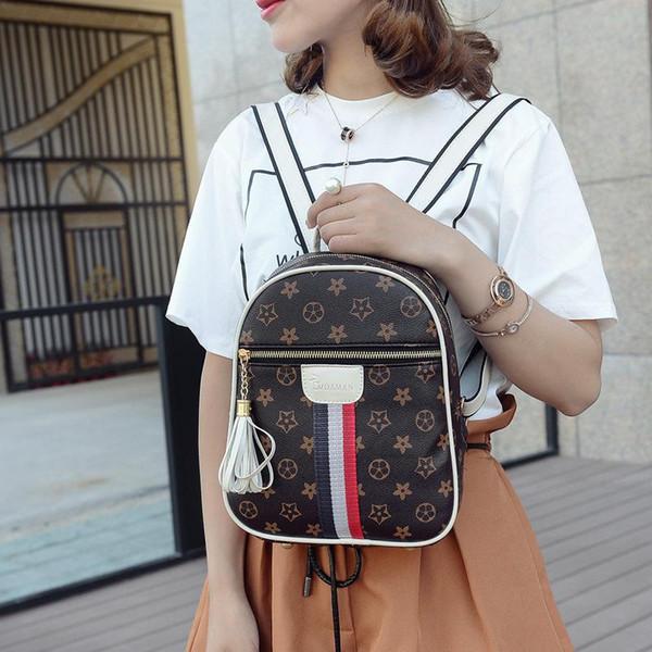 Luxury Backpacks Handbags PU Leather Women Designer Brand Flower Elegant  Fashion Preppy Style School Backpack Travel Bag High Quality f211162d694b7