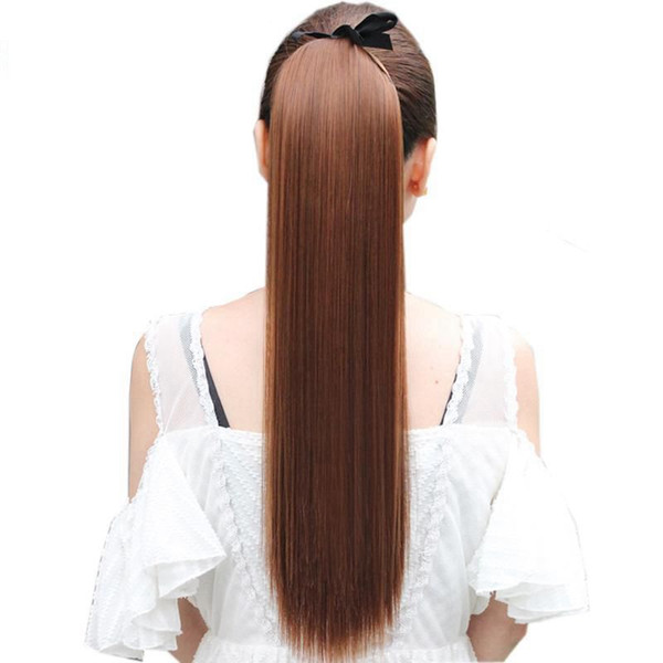 Z&F 40CM Long Straight Ponytails Clip In Ponytail Drawstring Synthetic Pony Tail Heat Resistant Fake Hair Extensions