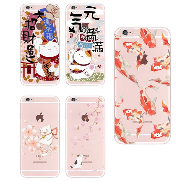 For iPhone 5 5SE 6 6Plus 7 7Plus 8 X Samsung Galaxy S8 Koi Fish Cherry Blossom Lucky Cat Japanese Pattern Soft Phone Case