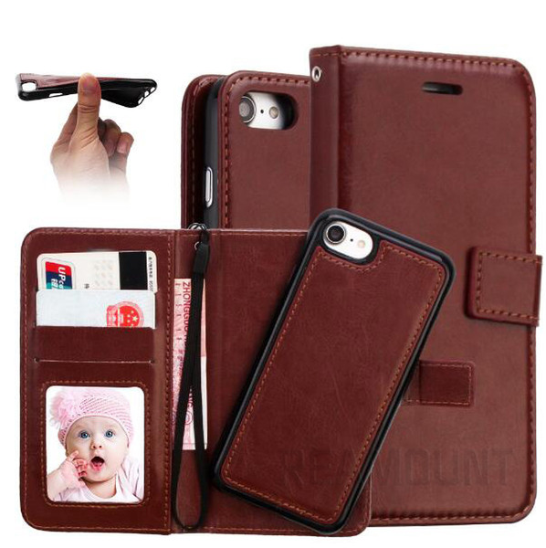 Wholesale Customized New Fashion PU Leather Phone Case for Samsung S8 S8 Plus Crazy Horse Pattern Flip Wallet Leather Cover with Card Slot