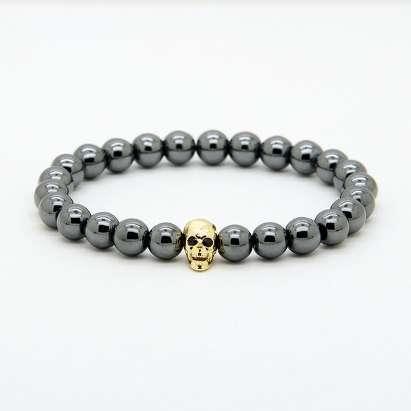 1PCS Powerful Fashion Jewelry 8mm Black Hematite Beads With Micro Pave Cz Faceted Skeleton Skull Bracelets