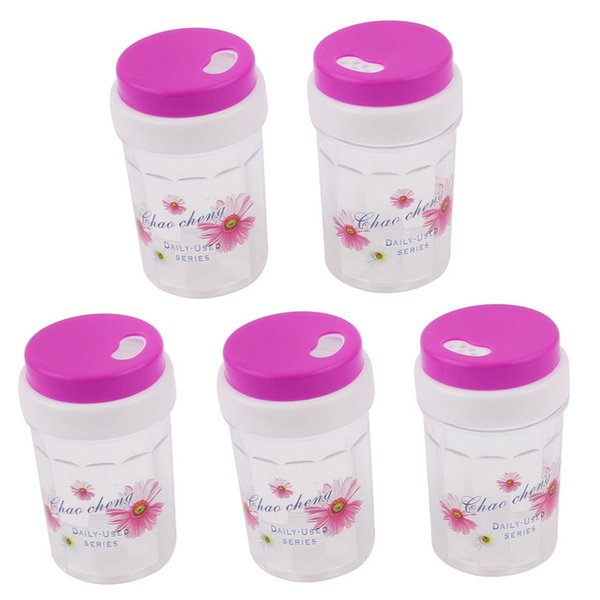 Wholesale- UXCELL Fuchsia Plastic Spice Jar Toothpick Holder Container Dispenser 80 X 46Mm 5Pcs