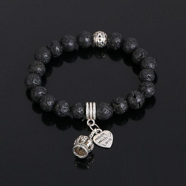 Fashion King Crown Charm Bracelets Lava Rock Natural Stone Bead Bracelets For Women Men Punk Jewelry free shipping