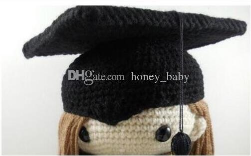 Halloween Crochet Graduation Caps Baby Boys Girls Christmas Hat Infants  Toddlers Kids Beanie Winter Children Cosplay ef60f07e186