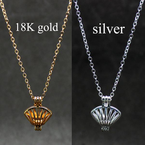 El último estilo de diseño abierto en plata dorada concha animal puede abrir caja de jaula poner collar de perlas para la mujer