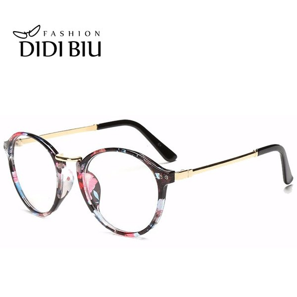 DIDI Round Metal Eyeglass Frames Women Men Clear Transparent Spectacles Optical Prescription Eyewear Frames Leopard Flower Glass Bulk H140