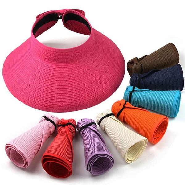 Wholesale- 2016 Fashion Style Women Lady Foldable Roll Up Sun Beach Wide Brim Straw Visor Hat Cap