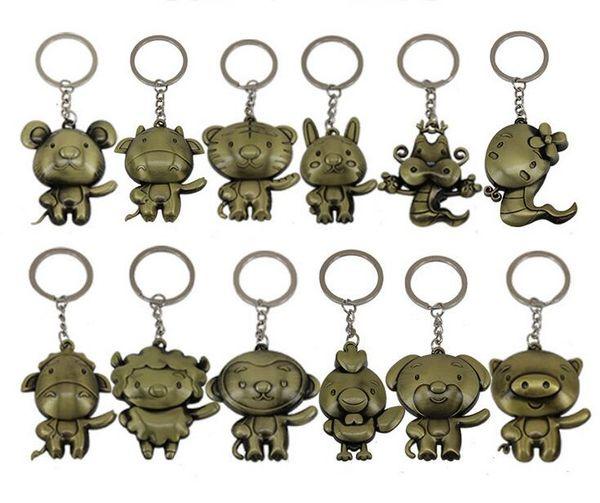 Free shipping Retro zodiac zipper metal key ring animal model key pendant KR035 Keychains mix order 20 pieces a lot
