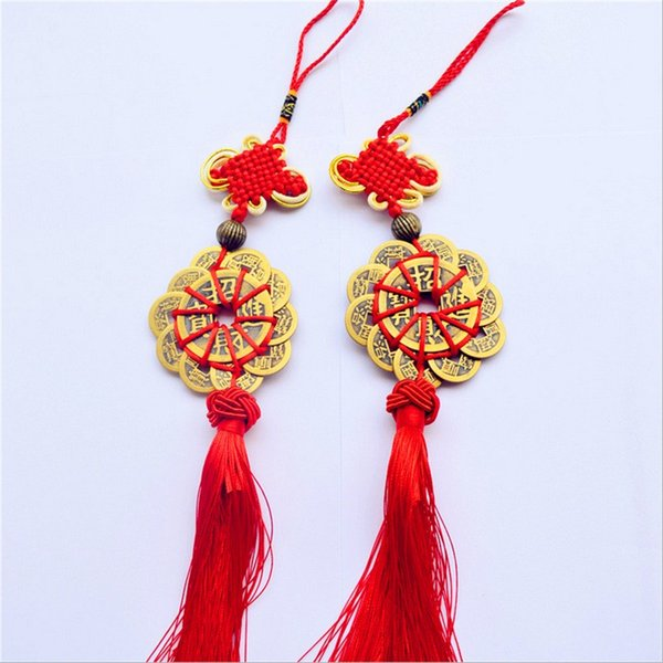 best selling Red Chinese knot FENG SHUI Set Of 10 Lucky Charm Ancient I CHING Coins Prosperity Protection Good Fortune Free Shipping