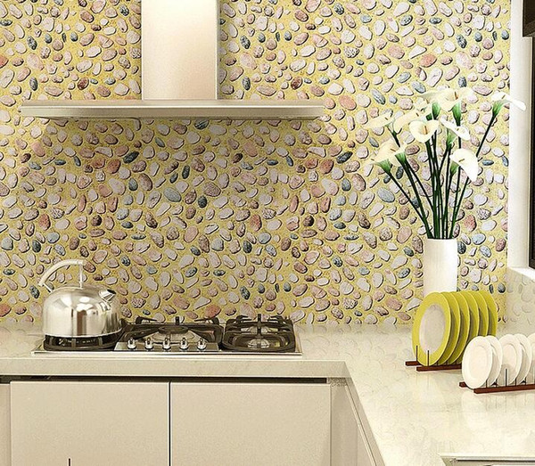 Pvc Waterproof 3D Wallpaper Wardrobe Furniture Stickers Kitchen Cabinet Door Decor Pastoral Stone 45CMX5M