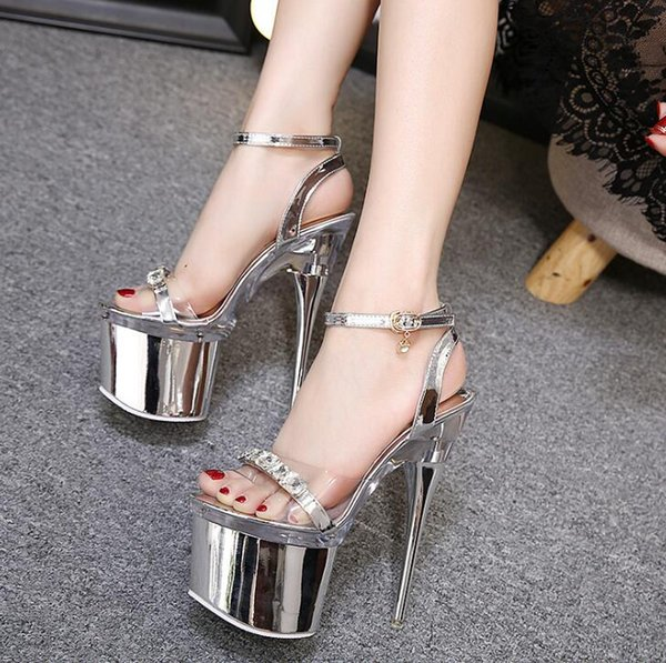 Size 34-43 Fashion Steel Tube Dancing Shoes Women Summer New High Heel Platform Peep Toe Sandals 18cm Thick Bottom Waterproof Nightclub Shoe