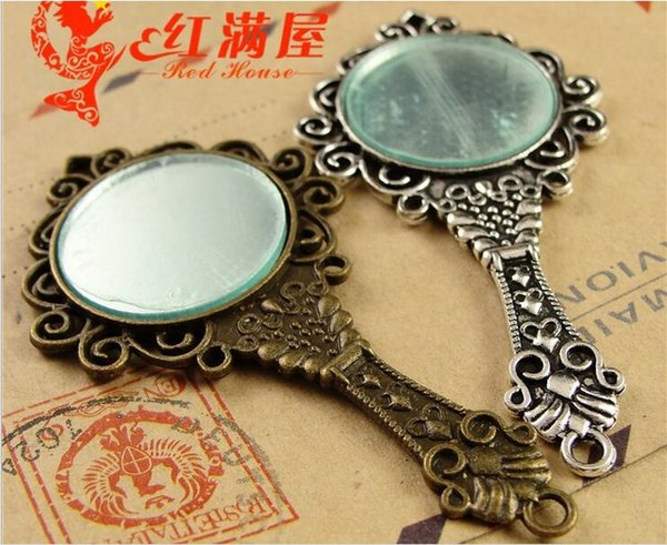 68 * 35 MM Antique Bronze charme espelho para pulseira, metal oscile vintage prata espelho pingentes para colar, encantos de liga de cobre de bronze indiano