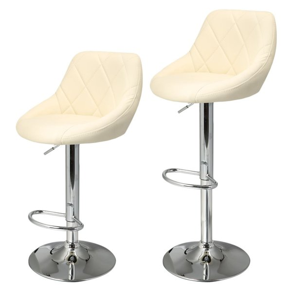 2pcs Synthetic Leather Swivel Bar Stools Chairs Height Adjustable Pneumatic Heavy-duty Counter Pub Chair Barstools